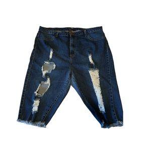 FASHIONNOVA Dark Distressed Jean Shorts!